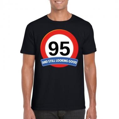 Verkeersbord 95 jaar t-shirt zwart volwassenen
