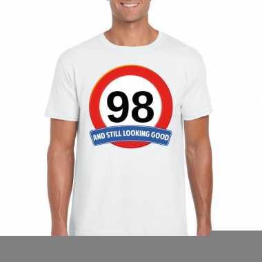 Verkeersbord 98 jaar t shirt wit heren