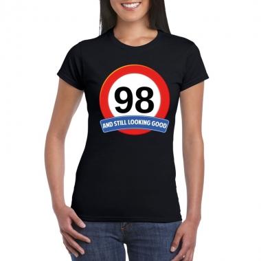 Verkeersbord 98 jaar t shirt zwart dames