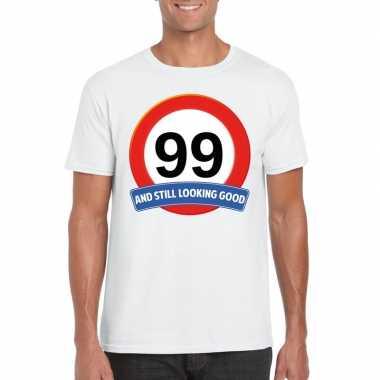 Verkeersbord 99 jaar t shirt wit heren