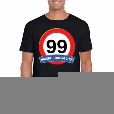 Verkeersbord 99 jaar t shirt zwart heren
