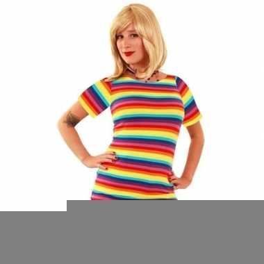 Verkleed t-shirt regenboogprint dames