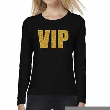 Vip goud glitter t shirt long sleeve zwart dames
