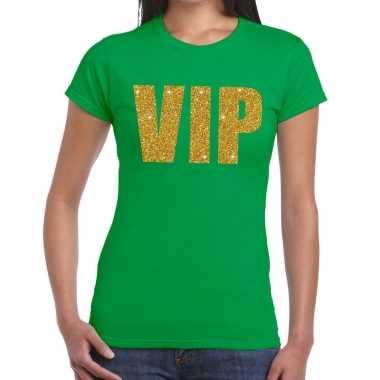 Vip tekst glitter goud t shirt groen dames