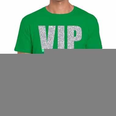 Vip zilver glitter tekst t shirt groen heren