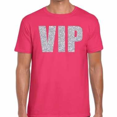 Vip zilver glitter tekst t shirt roze heren