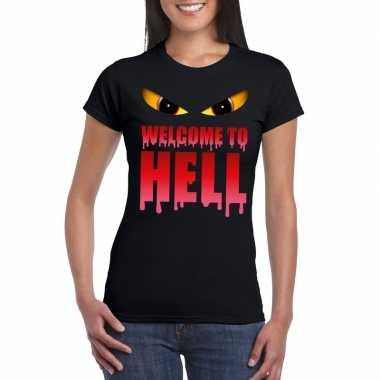Welcome to hell halloween duivel t shirt zwart dames