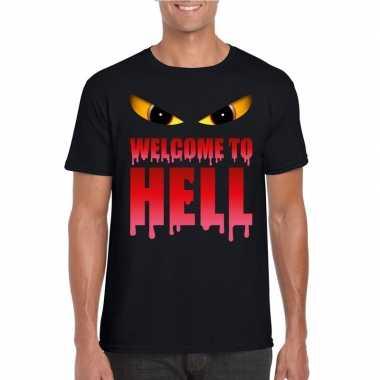 Welcome to hell halloween duivel t shirt zwart heren