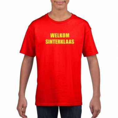 Welkom sinterklaas rood t-shirt kinderen