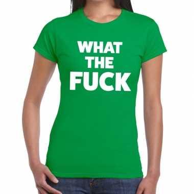 What the fuck tekst t shirt groen dames