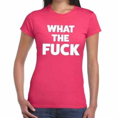 What the fuck tekst t shirt roze dames