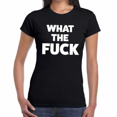 What the fuck tekst t shirt zwart dames