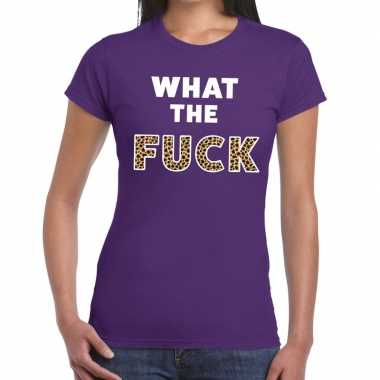 What the fuck tijger print tekst t shirt paars dames