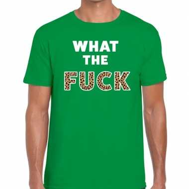 What the fuck tijgerprint tekst t shirt groen heren