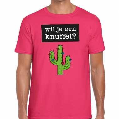 Wil je een knuffel tekst t shirt roze heren
