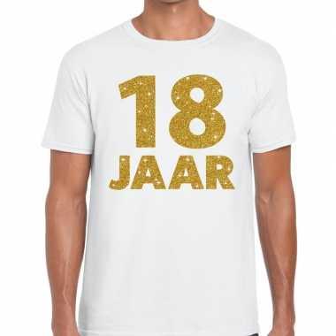 Wit achttien jaar verjaardag shirt heren gouden bedrukking