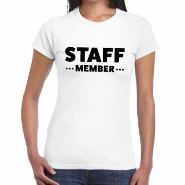 Wit crew shirt staff member bedrukking dames