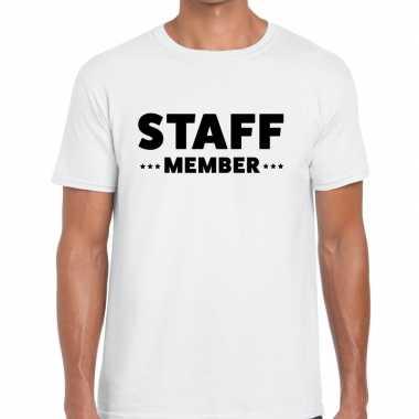 Wit crew shirt staff member bedrukking heren