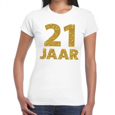 Wit eenentwintig jaar verjaardag shirt dames gouden bedrukking