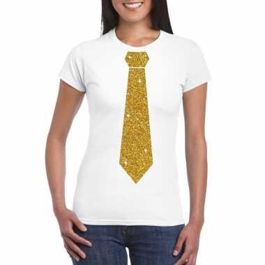 Wit fun t shirt stropdas glitter goud dames