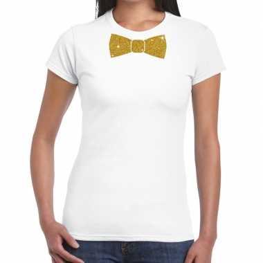 Wit fun t shirt vlinderdas glitter goud dames