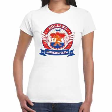 Wit holland drinking team t shirt dames