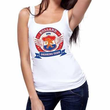 Wit holland drinking team tanktop mouwloos shirt dames