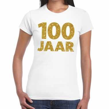 Wit honderd jaar verjaardag shirt dames gouden bedrukking