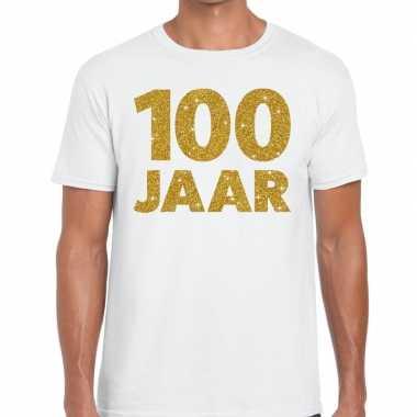 Wit honderd jaar verjaardag shirt heren gouden bedrukking