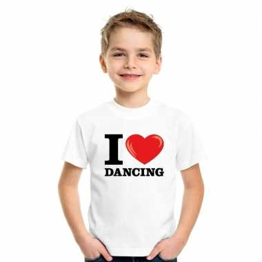 Wit i love dancing t-shirt kinderen