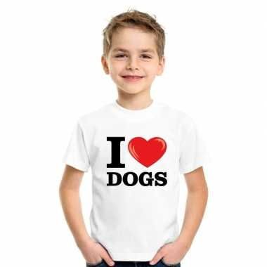Wit i love dogs honden t-shirt kinderen