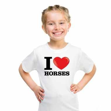 Wit i love horses paarden t-shirt kinderen