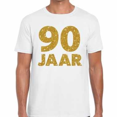Wit negentig jaar verjaardag shirt heren gouden bedrukking