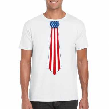 Wit t shirt amerika vlag stropdas heren