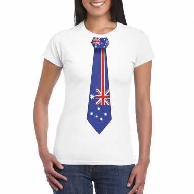 Wit t shirt australie vlag stropdas dames