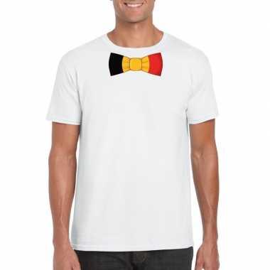 Wit t shirt belgie vlag strikje heren