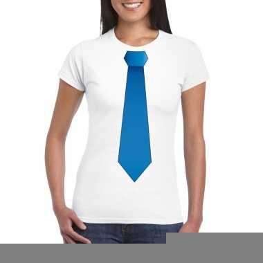 Wit t shirt blauwe stropdas dames