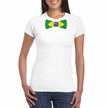 Wit t shirt brazilie vlag strikje dames