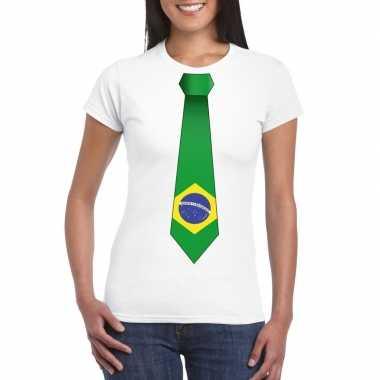 Wit t shirt brazilie vlag stropdas dames