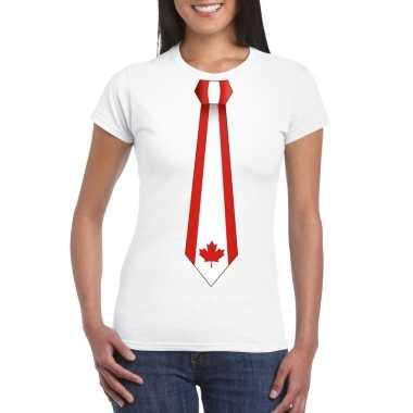 Wit t shirt canada vlag stropdas dames