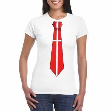 Wit t shirt denemarken vlag stropdas dames