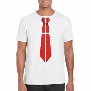 Wit t shirt denemarken vlag stropdas heren
