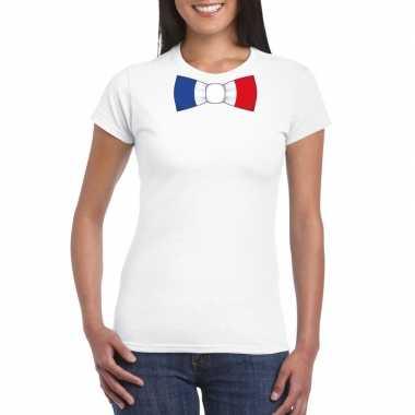 Wit t shirt frankrijk vlag strikje dames