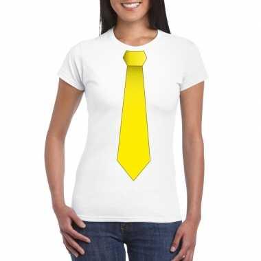 Wit t shirt gele stropdas dames