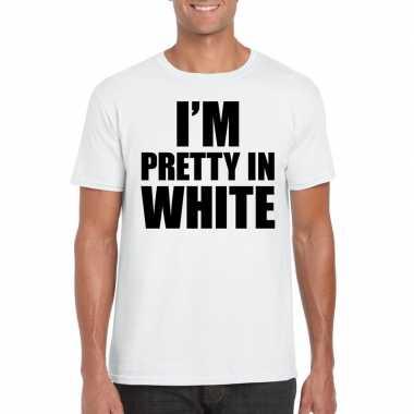 Wit t shirt i am pretty white bedrukking heren