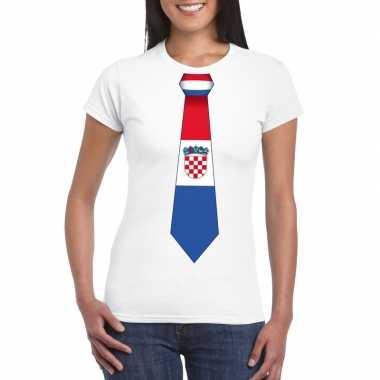 Wit t shirt kroatie vlag stropdas dames