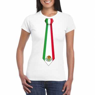 Wit t shirt mexico vlag stropdas dames