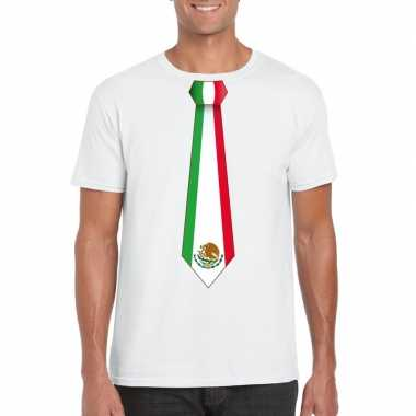 Wit t shirt mexico vlag stropdas heren
