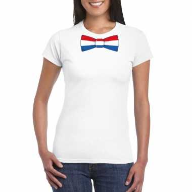Wit t shirt nederland vlag strikje dames