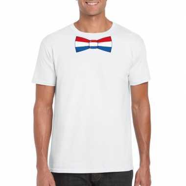 Wit t shirt nederland vlag strikje heren